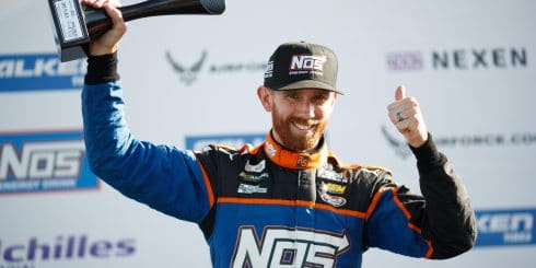Chris Forsberg takes the podium in the Formula Drift series.